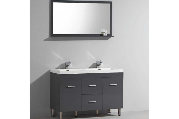 Ens HORA Meuble à poser double vasque de salle de bain Gris