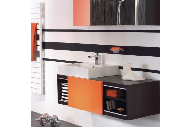 Meuble salle de bain sans vasque SWIFT - 1 porte orange