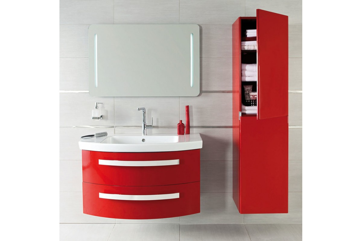 meuble de salle de bain suspendu nice day en 80 cm rouge blanc et noir. Black Bedroom Furniture Sets. Home Design Ideas