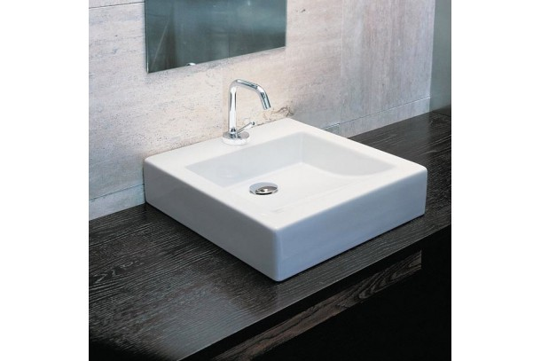 vasque quadra class carr poser en c ramique blanche ma salle de bain design. Black Bedroom Furniture Sets. Home Design Ideas