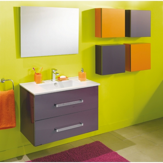 Meuble salle de bain pep 39 s 80 cm simple vasque for Meuble salle de bain orange