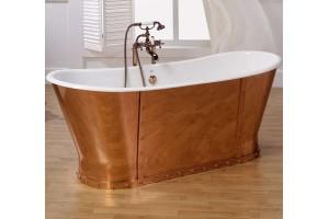 Baignoire BARRA en fonte blanche et cuivre