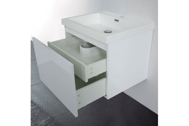 Meuble de salle de bain 60 cm Primo blanc de cote