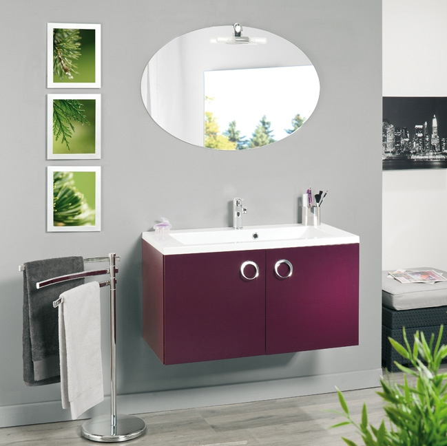 Meuble de salle de bain 90 cm suspendu simple vasque KYNO ...