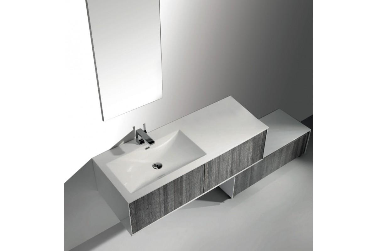 Ensemble meuble de salle de bain suspendu astree 131 avec for Meuble suspendu pour salle de bain