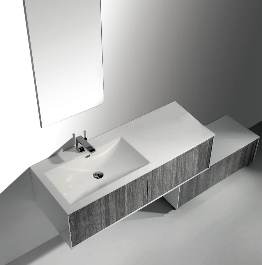 Ensemble Meuble de salle de bain suspendu ASTREE 131 avec son miroir ...
