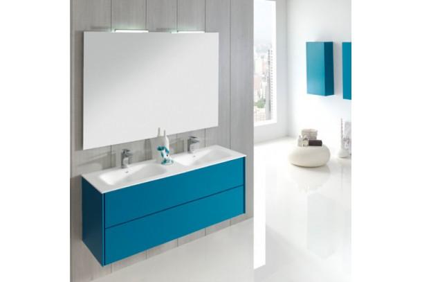 Kit Meuble salle de bain Madina 150 et miroir bleu