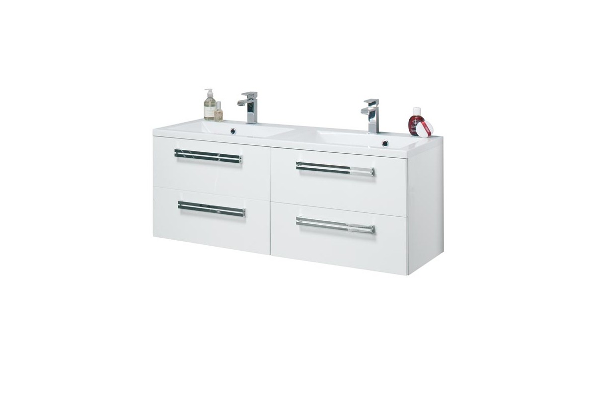 Meuble de salle de bain orzo 120 cm suspendu double vasque for Double vasque salle de bain dimension
