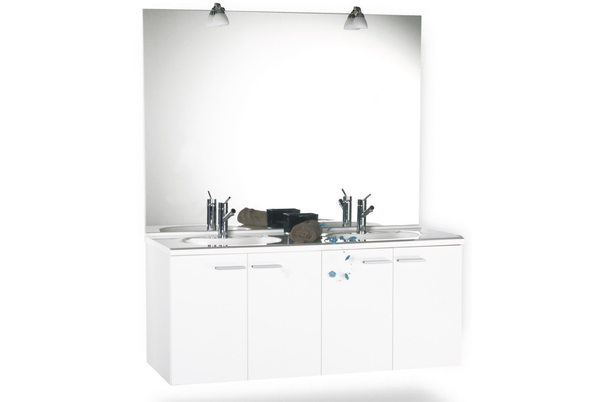Meuble de salle de bain 140 cm suspendu simple vasque MILANO