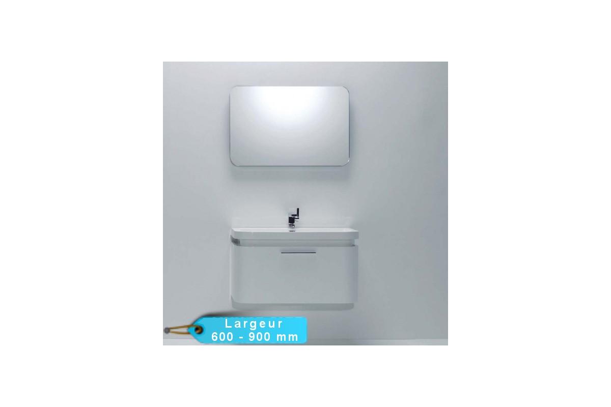 Meuble de salle de bain suspendu lugo avec son miroir - Meuble salle de bain avec miroir ...