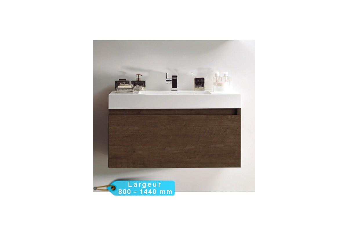 Meuble de salle de bain suspendu toky avec vasque blanche for Ma salle de bain design