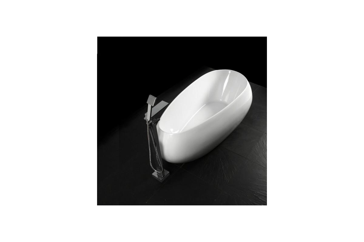 Baignoire ilot design egg asym trique acrylique blanche for Baignoire ilot asymetrique