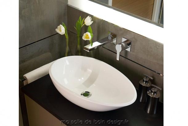 Napoli 57, vasque asymétrique de forme ovoïde disponible en noir et blanc et 5 autres couleurs