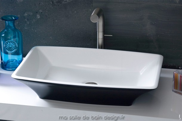 Ravello 60, vasque moderne rectangulaires aux cotés légèrement bombés