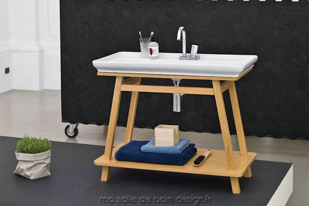 Ensemble vasque extra plate 90 cm sur meuble bois ouvert