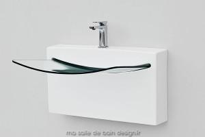 Vasque à suspendre CRYSTAL WALL céramique et verre