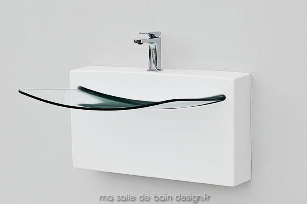 vasque suspendue crystal wall en c ramique blanche et verre. Black Bedroom Furniture Sets. Home Design Ideas