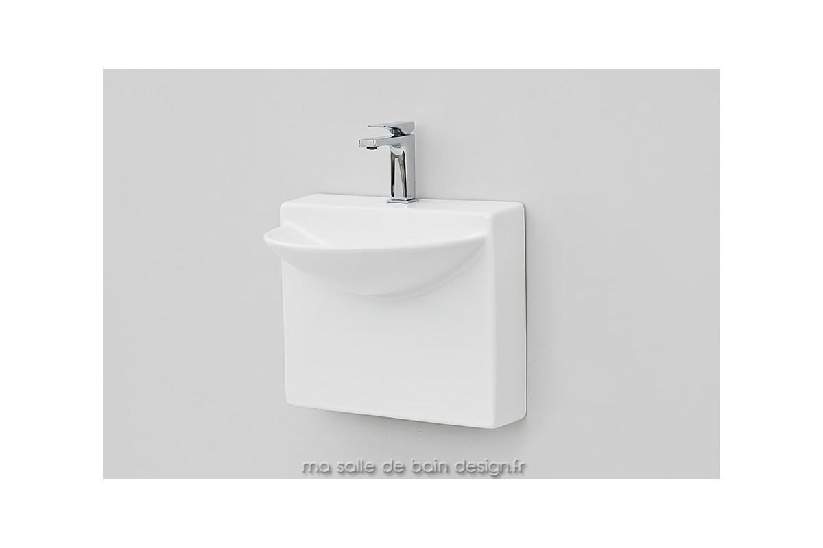 vasque suspendue 45x38cm wall mini en c ramique blanche. Black Bedroom Furniture Sets. Home Design Ideas