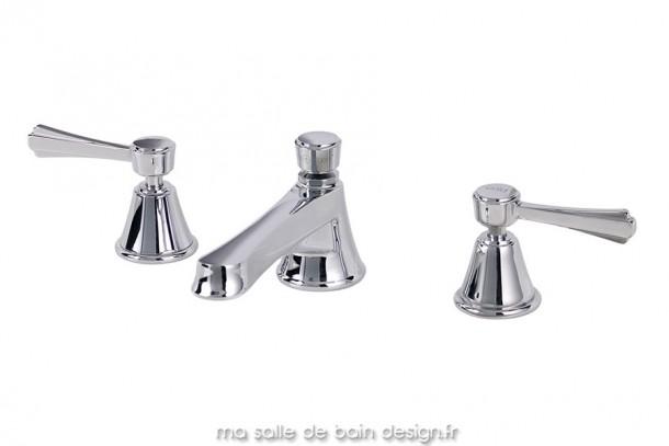 Mélangeur trois trous de style Art Déco pour vasque de salle de bains