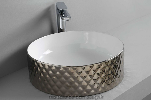 Vasque Design ronde 44cm platine Rombo Artceram