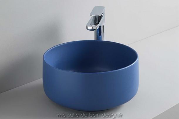 Vasque design bleue à bords fins Cognac 35 cm d'ArtCeram