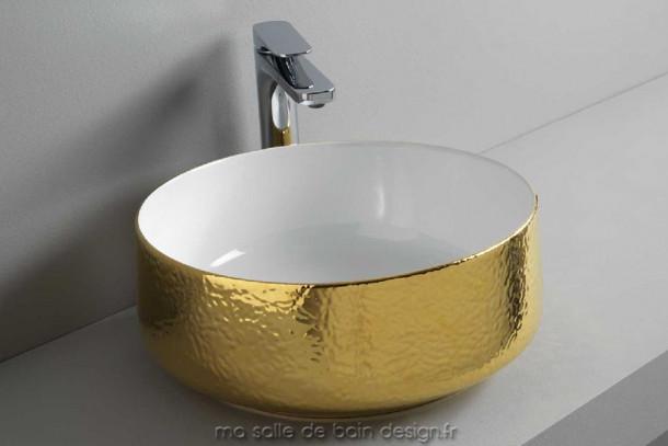 Vasque design baroque dorée Cognac 42cm ronde à poser d'Artceram