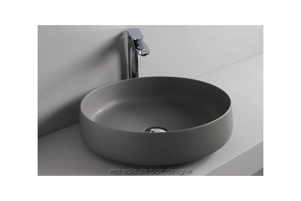 vasque a poser grise 2 Vasque à poser en céramique grise Cognac 48 cm de diamètre par Artceram
