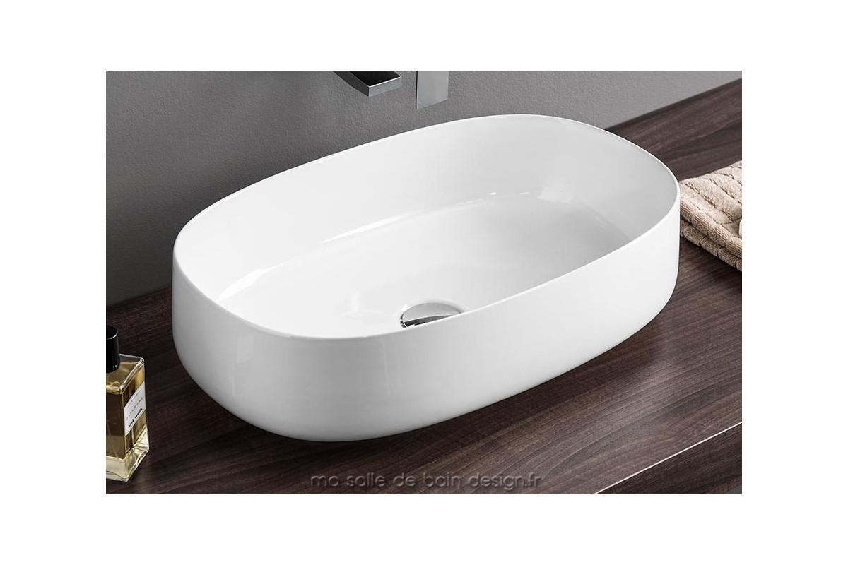 vasque ovale design bords fins cognac 55x35cm en. Black Bedroom Furniture Sets. Home Design Ideas