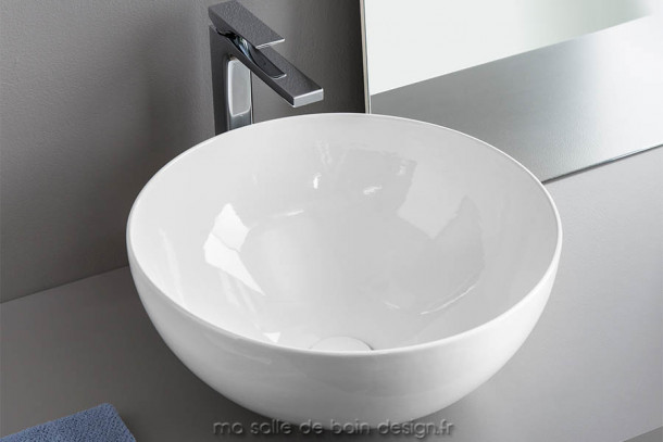 Vasque à poser bol céramique blanche La Ciotola 46 d'Artceram
