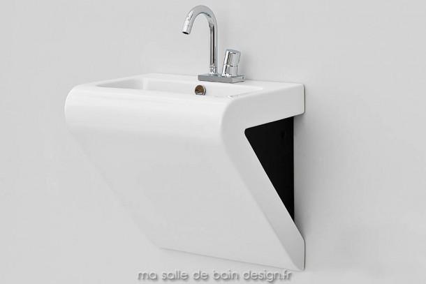 Vasque suspendue design blanc et noir La Fontana 55x45cm Artceram