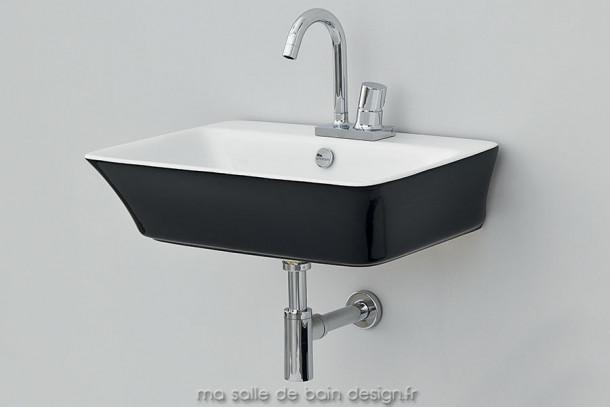 Lavabo suspendu design céramique noire et blanche Cow 60 x 45 cm d'Artceram
