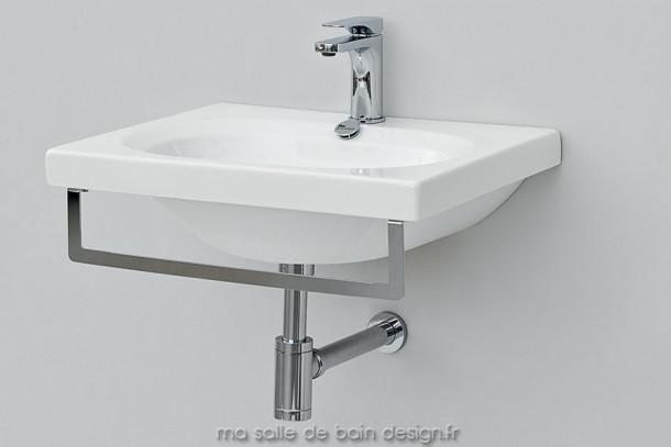 Plan vasque ovale avec barre pose serviette Blend 55 d'Artceram