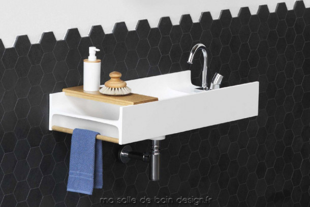 Plan vasque design en Solid Surface Livingtec TT par Artceram