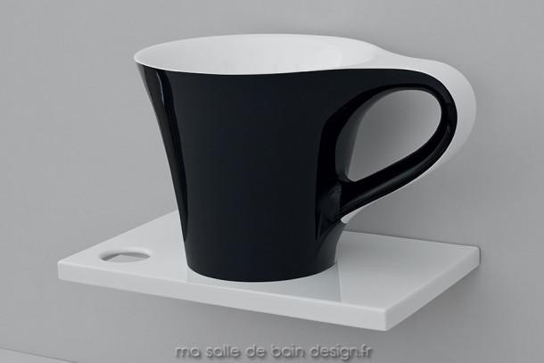 Vasque à poser Design original Cup noir et blanc en Solid Surface Livingtec d'Artceram