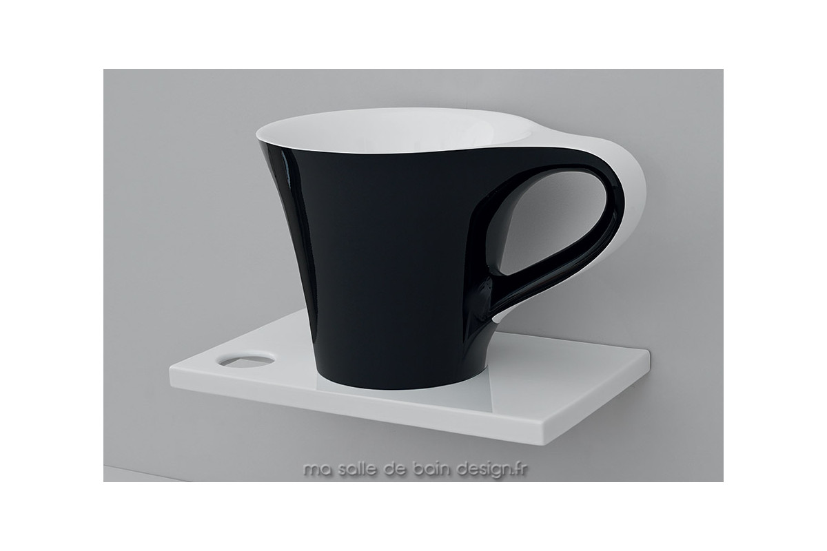 Vasque Poser Design Original Cup Noir Et Blanc En Solid Surface Livingtec DArtceram