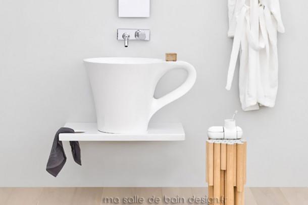Vasque design tasse à café Cup blanche d'Artceram en Livingtec (solid surface)