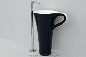 Vasque colonne Cup noire