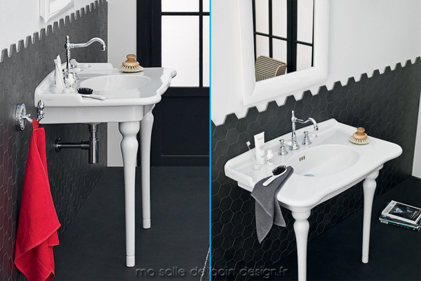 lavabo r tro mural avec pieds frontaux c ramique hermitage. Black Bedroom Furniture Sets. Home Design Ideas
