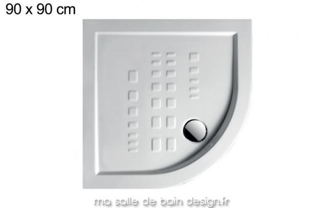 Receveur extra plat quart de cercle 90x90cm PDA006 en céramique par Artceram