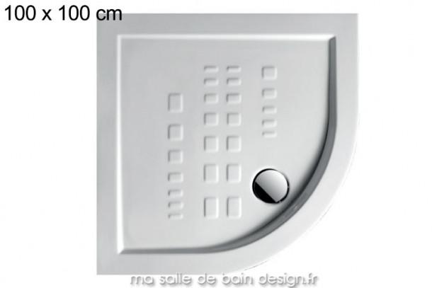 Receveur extra plat quart de cercle 100x100cm PDA007 en céramique par Artceram