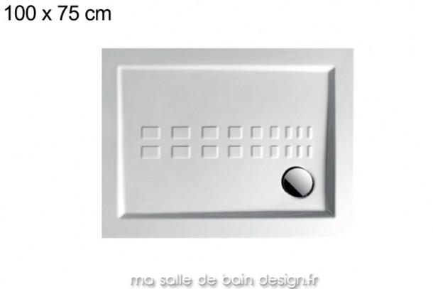 Receveur extra plat 75x100cm PDR006 en céramique par Artceram, évacuation en angle.