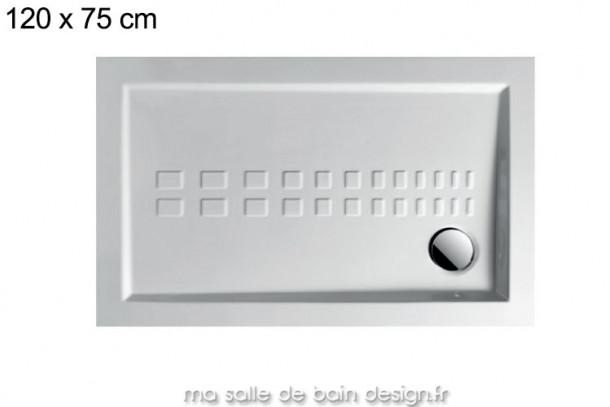 Grand receveur extra plat 75x120cm PDR007 en céramique par Artceram, évacuation en angle.