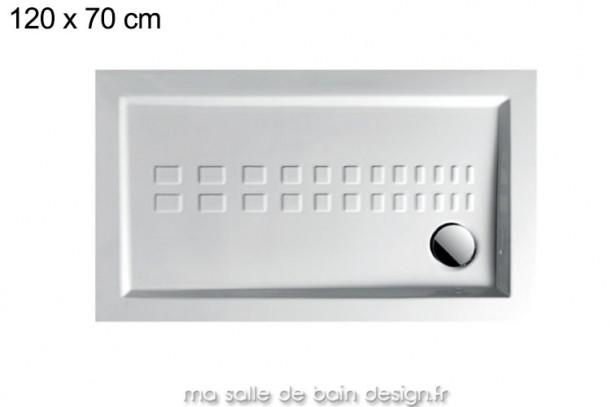 Grand receveur extra plat 70x120cm PDR011 en céramique par Artceram, évacuation en angle.