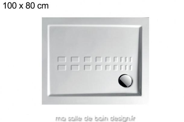 Grand receveur extra plat 80x100cm PDR012 en céramique par Artceram, évacuation en angle.
