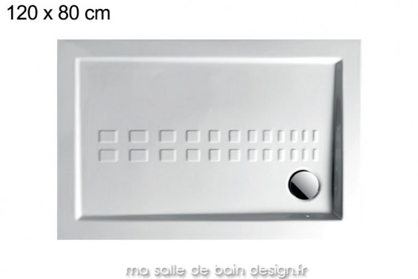 Grand receveur extra plat 80x120cm PDR013 en céramique par Artceram, évacuation en angle.