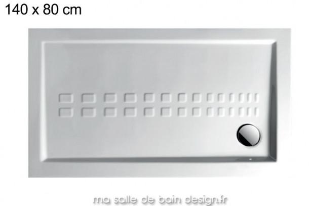 Receveur XXL extra plat 80x140cm PDR014 en céramique par Artceram, évacuation en angle.