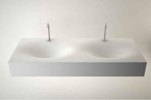 plan double vasque suspendu cocon maximo 120 en solid surface. Black Bedroom Furniture Sets. Home Design Ideas