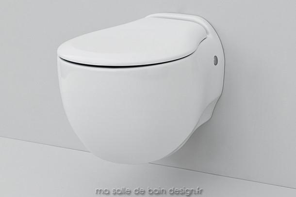 Toilettes suspendues design Blend par Artceram en céramique blanche 36x52cm