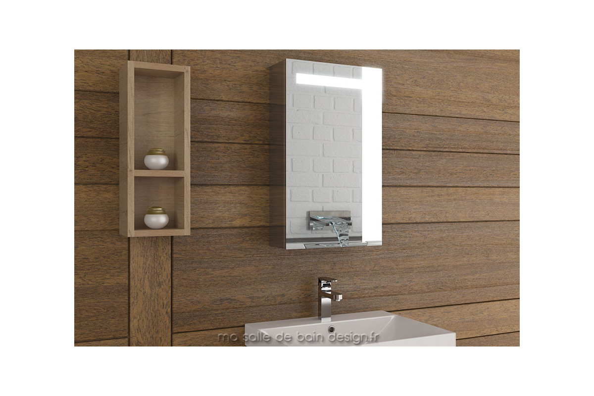 armoire salle de bain lumineuse simple porte 40 cm de large tout miroir. Black Bedroom Furniture Sets. Home Design Ideas
