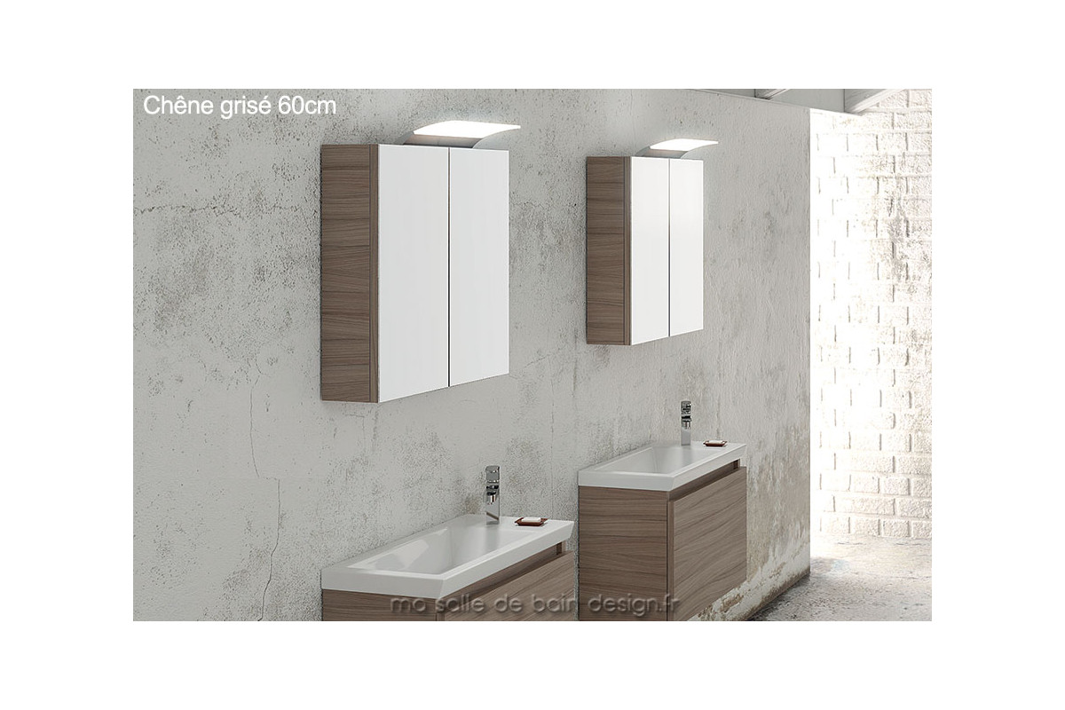 armoire murale salle de bain double porte miroir 60 cm de. Black Bedroom Furniture Sets. Home Design Ideas
